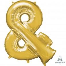 Gold Ampersand Symbol SuperShape Shaped Balloon 86cm