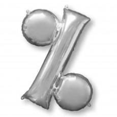 Silver Percentage Symbol SuperShape Shaped Balloon 86cm