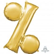 Gold Percentage Symbol SuperShape Shaped Balloon 86cm