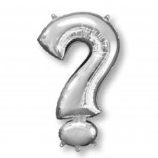 Silver Question Mark Symbol SuperShape Shaped Balloon 86cm