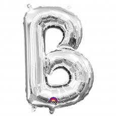 Silver CI: Letter B Shaped Balloon 40cm