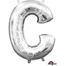 Letter C Silver CI: Shaped Balloon
