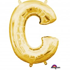 Letter C Gold CI: Shaped Balloon