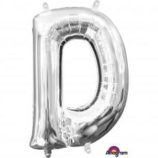 Silver CI: Letter D Shaped Balloon 40cm