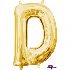 Gold CI: Letter D Shaped Balloon 40cm