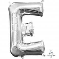 Letter E Silver CI: Shaped Balloon