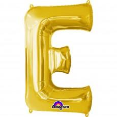 Letter E Gold CI: Shaped Balloon