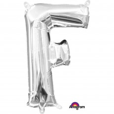 Letter F Silver CI: Shaped Balloon