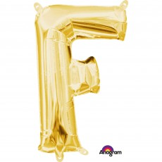 Letter F Gold CI: Shaped Balloon