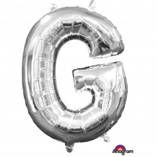 Silver CI: Letter G Shaped Balloon 40cm