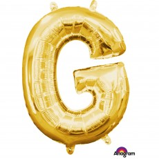 Gold CI: Letter G Shaped Balloon 40cm