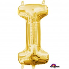 Letter I Gold CI: Shaped Balloon