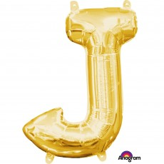 Letter J Gold CI: Shaped Balloon