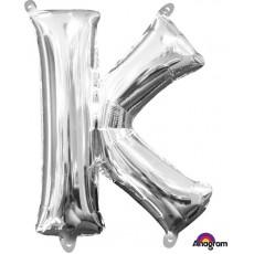 Silver CI: Letter K Shaped Balloon 40cm
