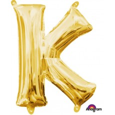 Letter K Gold CI: Shaped Balloon