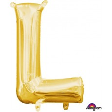 Letter L Gold CI: Shaped Balloon