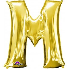 Gold CI: Letter M Shaped Balloon 40cm