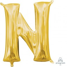 Letter N Gold CI: Shaped Balloon