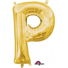 Letter P Gold CI: Shaped Balloon