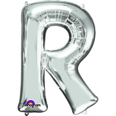 Letter R Silver CI: Shaped Balloon
