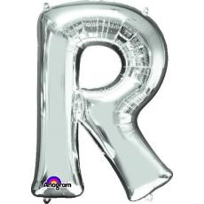 Silver CI: Letter R Shaped Balloon 40cm
