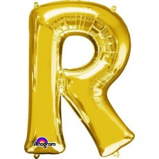Gold CI: Letter R Shaped Balloon 40cm