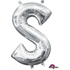 Silver CI: Letter S Shaped Balloon 40cm