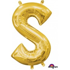 Gold CI: Letter S Shaped Balloon 40cm