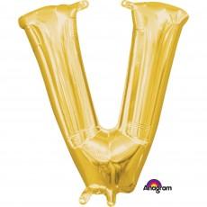 Letter V Gold CI: Shaped Balloon