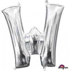 Silver CI: Letter W Shaped Balloon 40cm