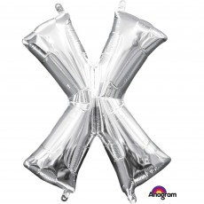 Letter X Silver CI: Shaped Balloon