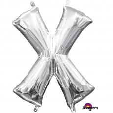Silver CI: Letter X Shaped Balloon 40cm