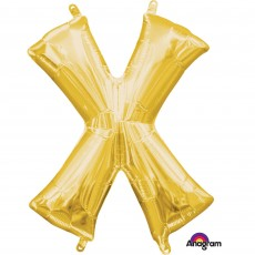 Gold CI: Letter X Shaped Balloon 40cm
