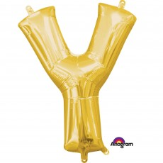 Gold CI: Letter Y Shaped Balloon 40cm