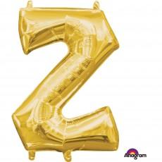 Gold CI: Letter Z Shaped Balloon 40cm