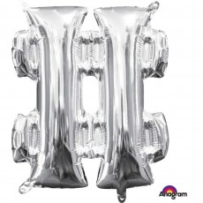 Hashtag Symbol Silver CI: Shaped Balloon