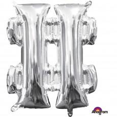 Silver Hashtag Symbol CI: # Shaped Balloon 40cm