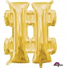 Gold Hashtag Symbol CI: # Shaped Balloon 40cm