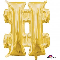 Hashtag Symbol Gold CI: Shaped Balloon