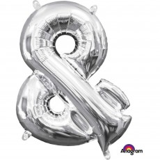 Ampersand Symbol Silver  Foil Balloon