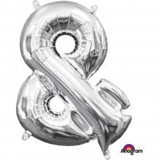 Silver Ampersand Symbol CI: & Shaped Balloon 40cm