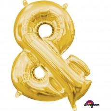 Gold Ampersand Symbol CI: & Shaped Balloon 40cm