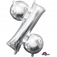 Silver Percentage Symbol CI: % Shaped Balloon 40cm
