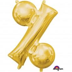 Percentage Symbol Gold CI: Shaped Balloon