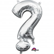 Silver Question Mark Symbol CI: ? Shaped Balloon 40cm