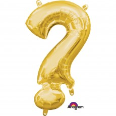 Gold Question Mark Symbol CI: ? Shaped Balloon 40cm