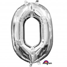 Number 0 Silver Megaloon Megaloon Foil Balloon