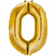 Number 0 Gold CI: Shaped Balloon