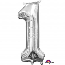 Number 1 Party Decorations - Shaped Balloon CI: Number 1 Silver 40cm