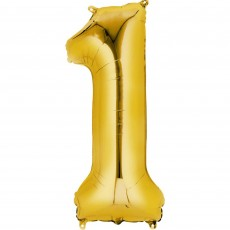 Number 1 Party Decorations - Shaped Balloon CI: Number 1 Gold 40cm